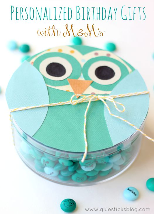 Personalized M&M's Birthday Gift (Free Owl Card Template)