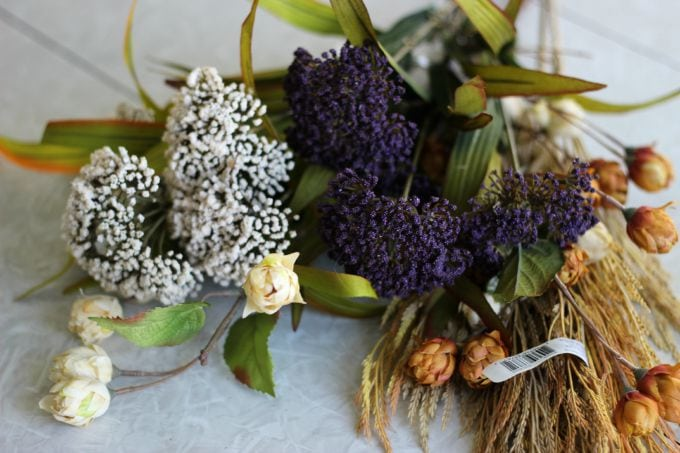 fall picks and stems for flower basket