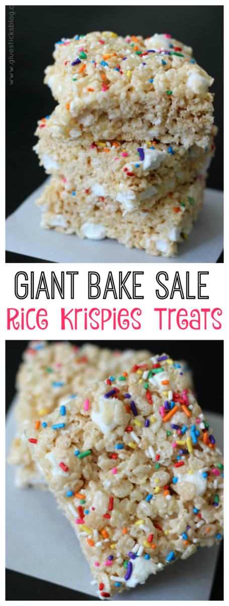 Thick and spongy rice krispies treats, made even better by stirring in extra mini marshmallows! Cut into large squares to serve or package for your next bake sale. These will go fast!