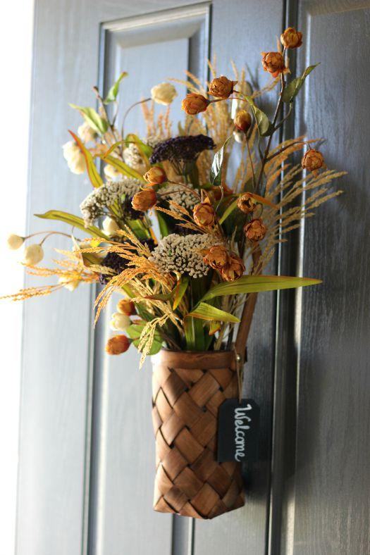 front door flower basket for fall