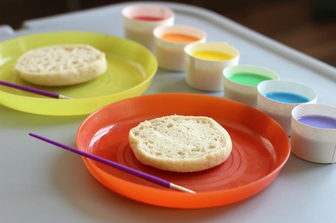 Tie DyedPainted Toast is an art project and snack all in one! Add a few food coloring drops to milk then paint it onto your bread! When the bread has been toasted the paint will show up in bright and vivid colors and isn't soggy.
