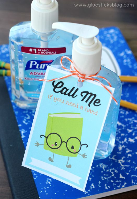 "A quick and easy gift to bring to Back to School night. Give your teacher a ""hand"" with this calling card printable and hand sanitizer!"