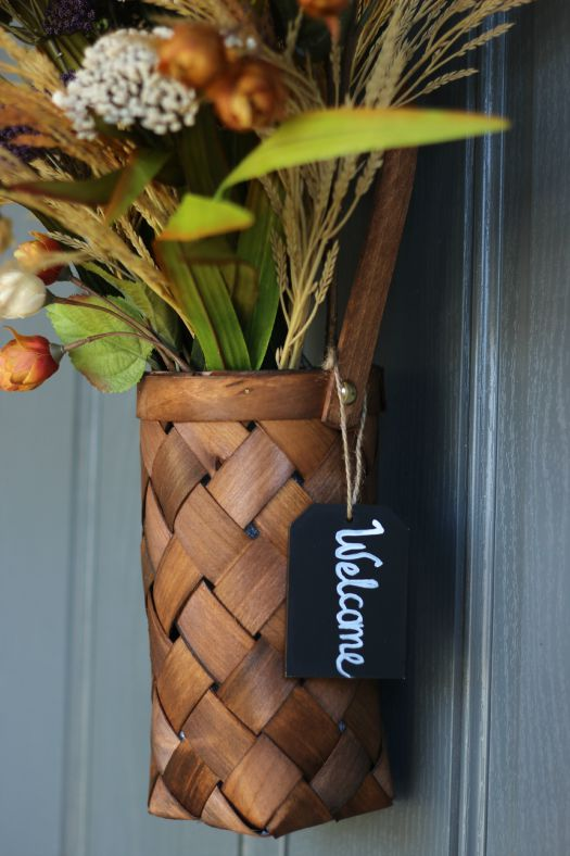 basket with welcome sign