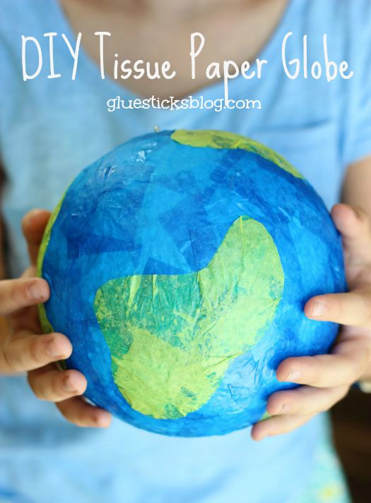 Tissue paper, a styrofoam ball, and a bit of glue is all you need to make a darling little globe craft. A fun craft for Earth Day or a solar system unit craft! Hang with a small hook and string from the ceiling for a fun way to display!