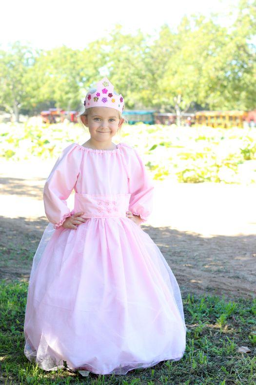 little girl wearing homemade princess dress
