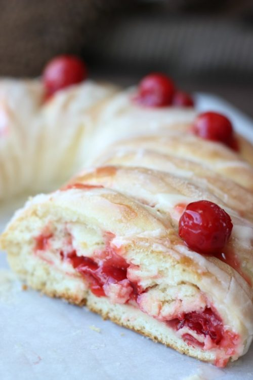 candy cane cherry loaf sliced into