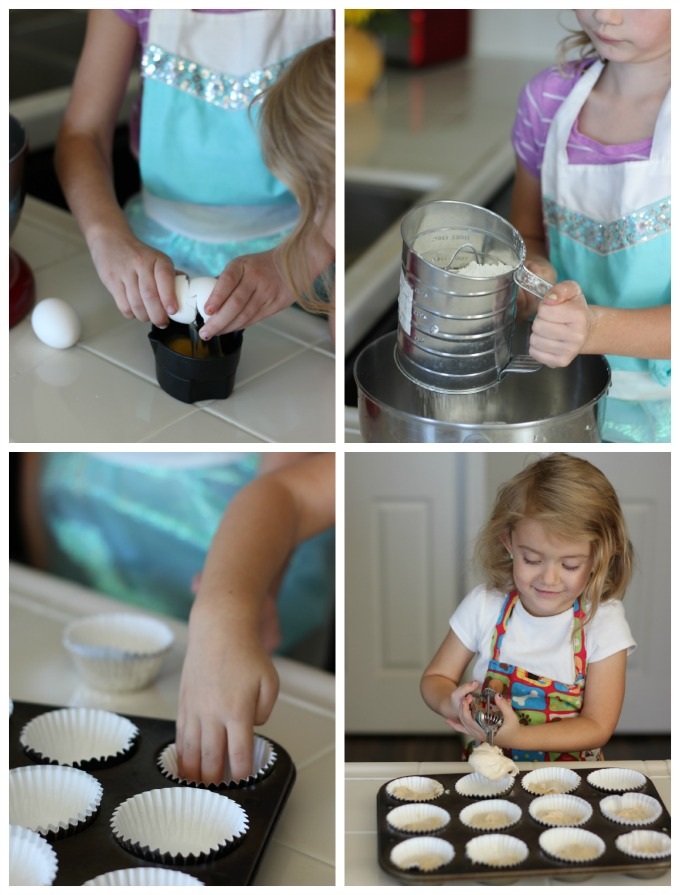 little girls baking cupcakes