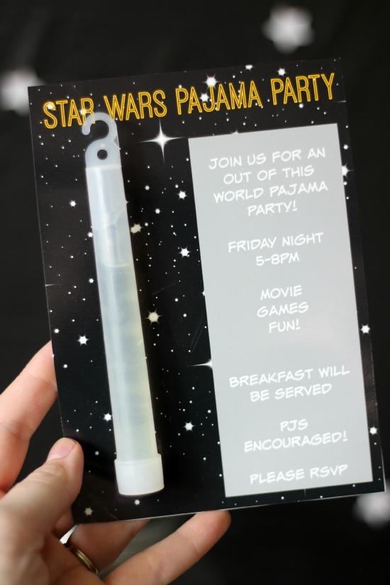 star wars pajama party printable invite
