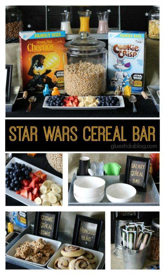 Who doesn't love Stars Movie AND pajamas, AND breakfast? Combine all 3 with a fun Star Wars Pajama Party!  Star Wars™ themed cereals, treats, fresh fruit, and yogurt lightsabers make this a fun and kid-friendly event!