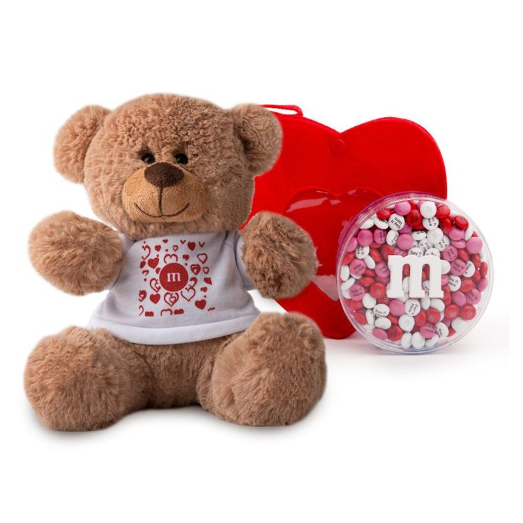 teddy bear valentine's day gift idea for kids with m&ms
