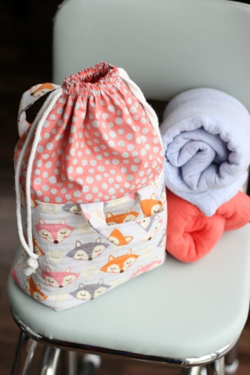 fabric drawstring bag and 2 receiving blankets