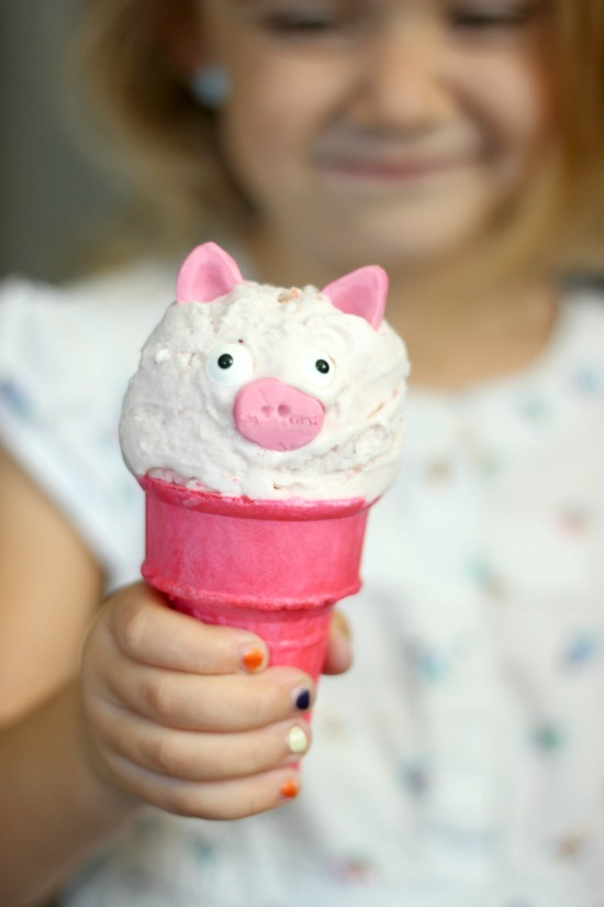 These pink pig ice cream cones are SO easy to make and are a total hit with kids! Here are a collection of ideas to throw a perfectly pink pig farm party for your favorite preschooler!