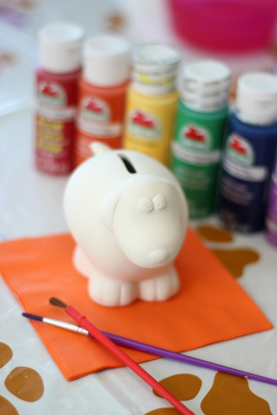 Painting, treats, and friends! This painting party for kids is easy to put together and very affordable. Everyone goes home with a ceramic bank!
