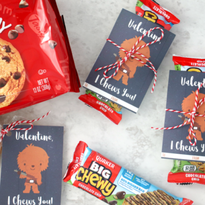 chewbacca valentines tied to chewy granola bars