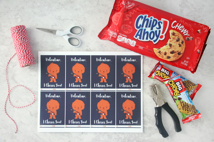chewy valentine printable on table with twine and cookies