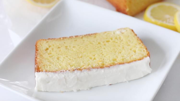 slice of easy lemon loaf cake on plate