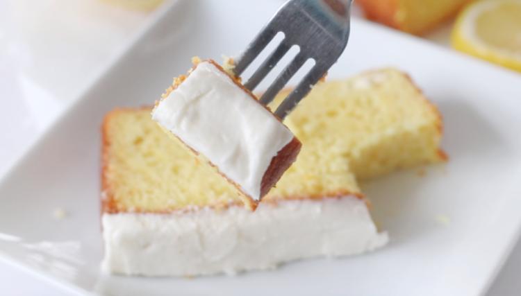 piece of lemon cake on fork