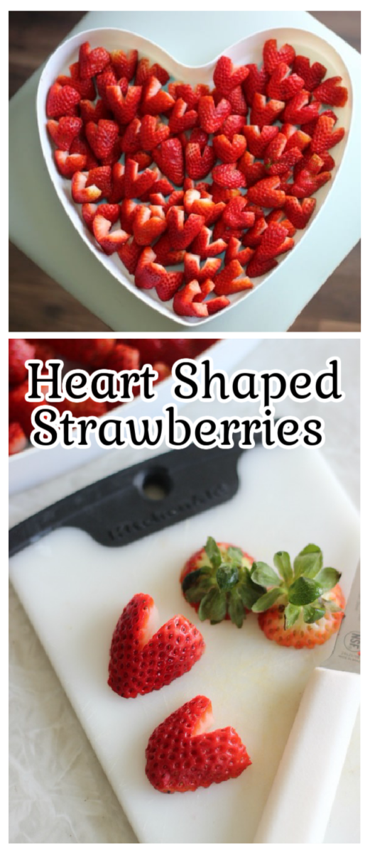 platter of heart shaped strawberries and strawberries on a cutting board