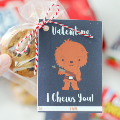 i chews you chewbacca valentines tied to package of cookies