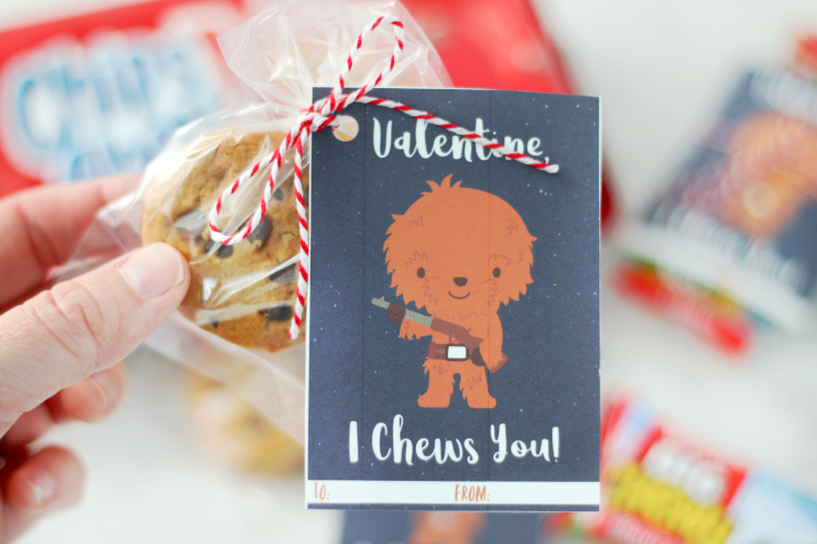chewbacca valentines tied onto package of cookies