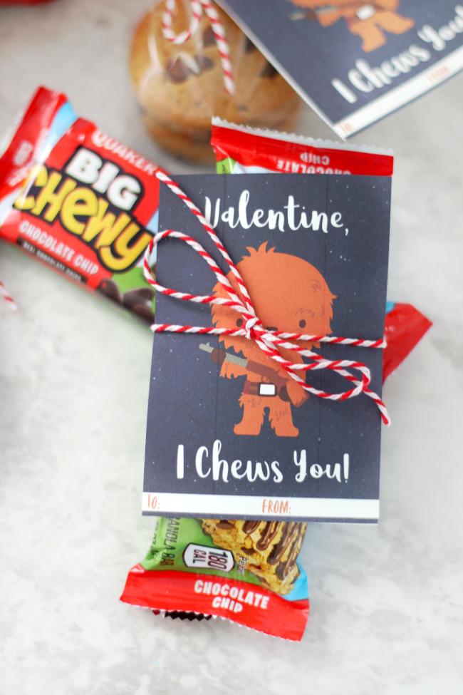 valentine wrapped around granola bar with baker's twine