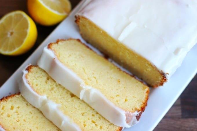 lemon loaf sliced on platter