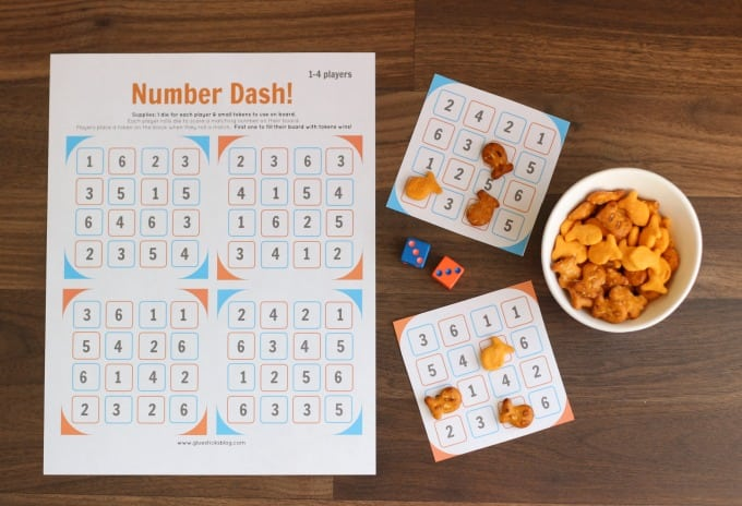 number dash game printable next to cut out game cards