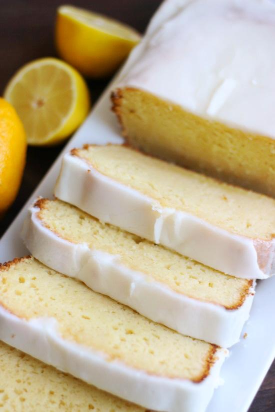 slices of easy lemon cake on platter