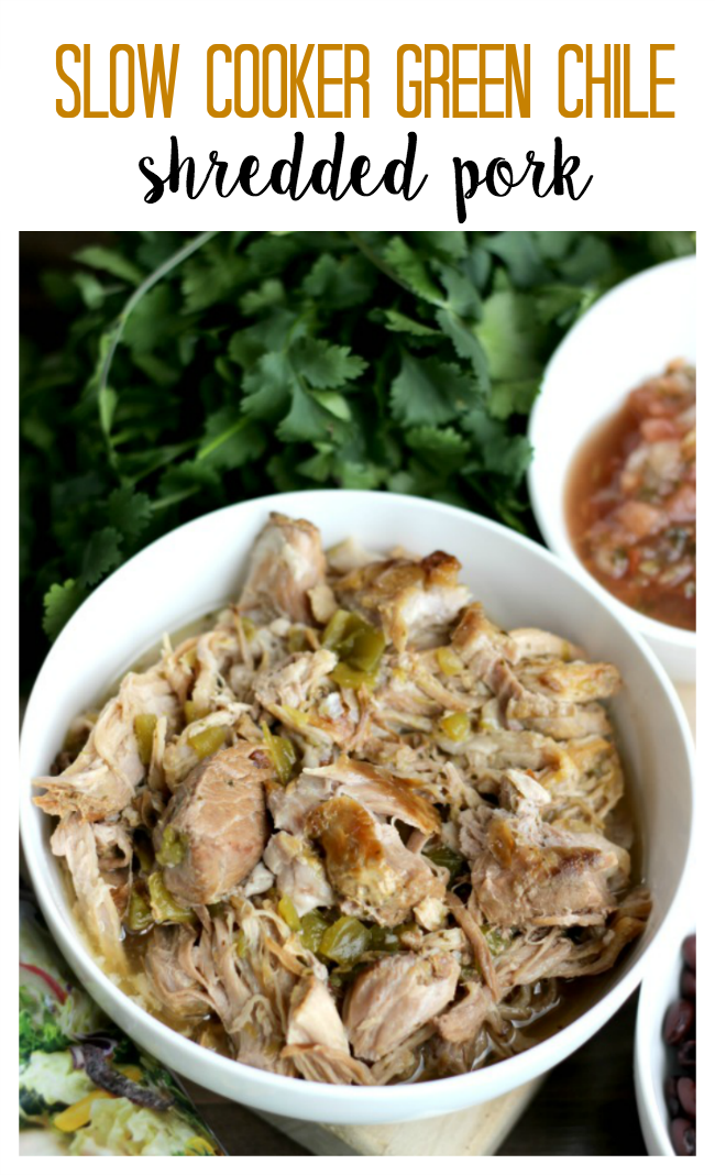 This slow cooker green chile shredded pork is perfect for tacos, enchiladas, chimichangas or salad! Slow cooked in your crock pot, it's an easy drop and go recipe.