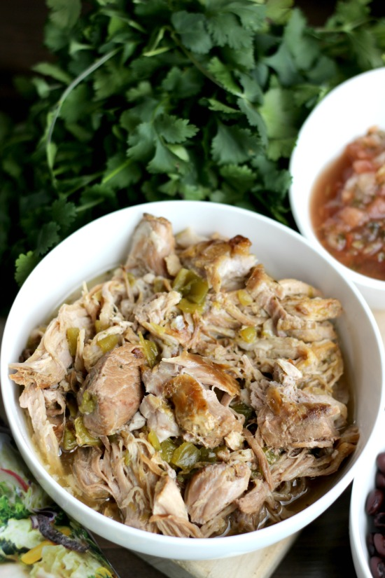 bowl of green chile shredded pork