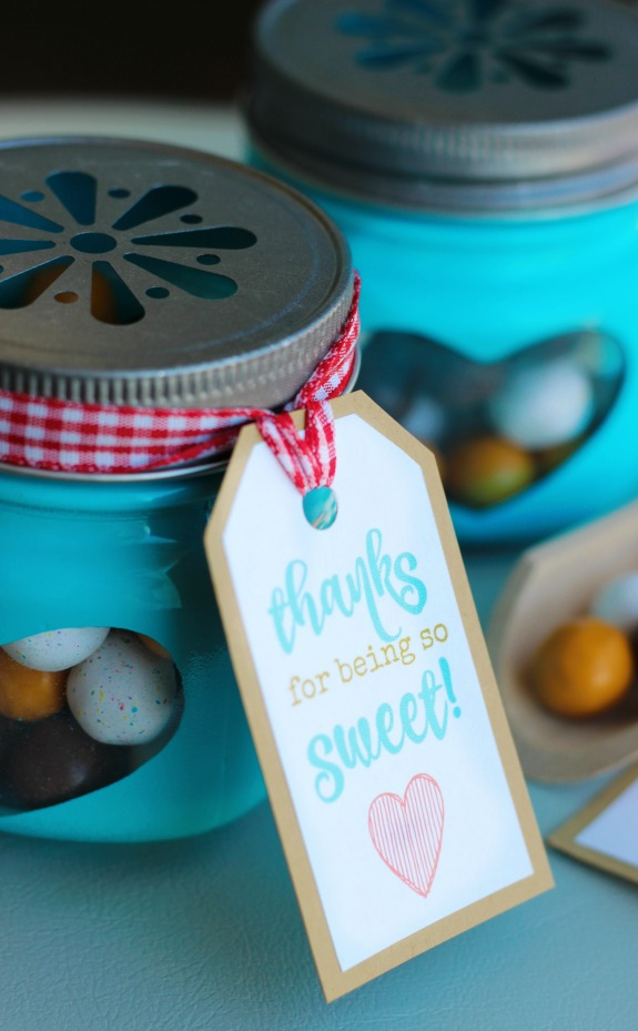 "These ""Thanks for Being so Sweet!"" printable gift tags are the perfect addition to any 'Thank You' gift! Add one to a jar of candies, a bag of cookies, or a box of chocolates! An easy idea for Mother's Day, Teacher Appreciation, or as a thank you gift for a baby or bridal shower!"
