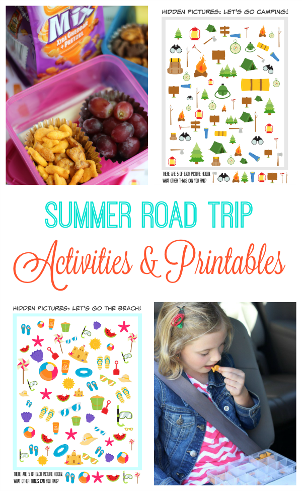 Road trip activities and printables for kids! Activity pages to print, road trip binders, and easy on the go snacks from a family who has has traveled around the United States.