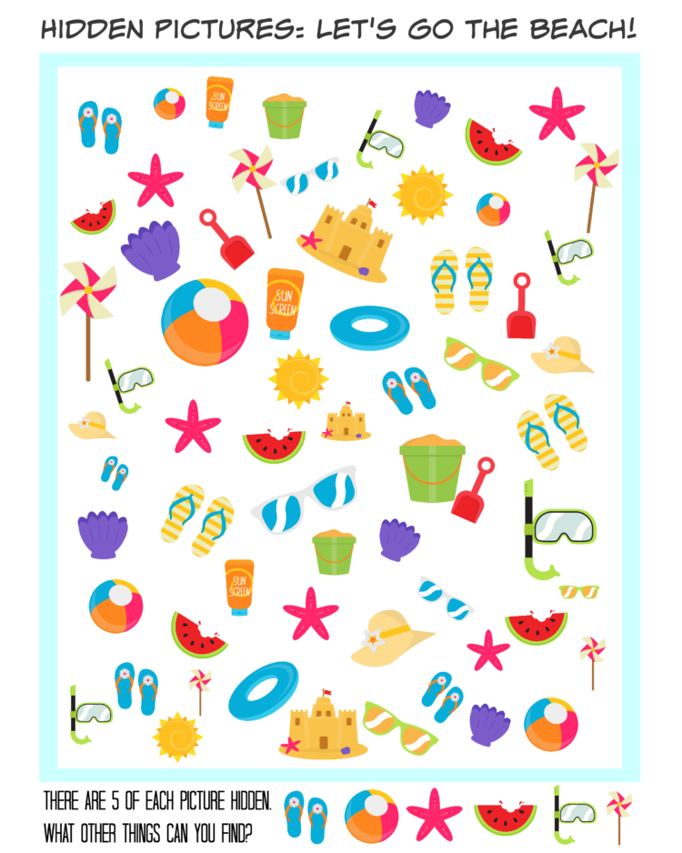 Printable Hidden Picture Travel Games beach themed