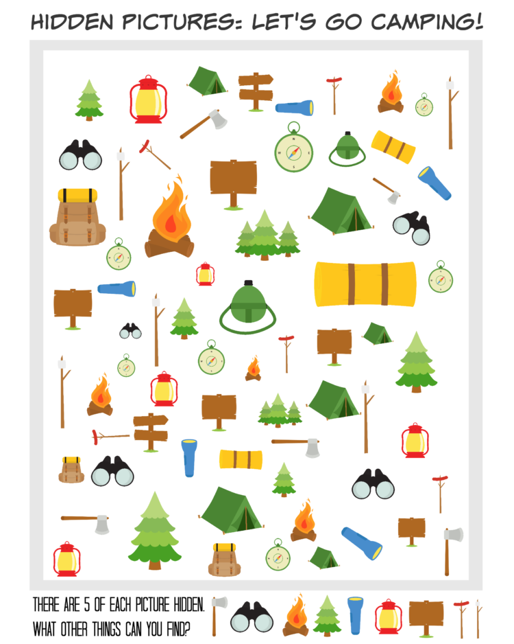 Printable Hidden Picture Travel Games camping themed