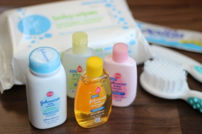baby powder and shampoo with baby brush and comb