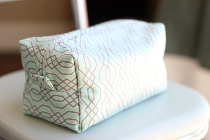 finished zipper pouch on chair