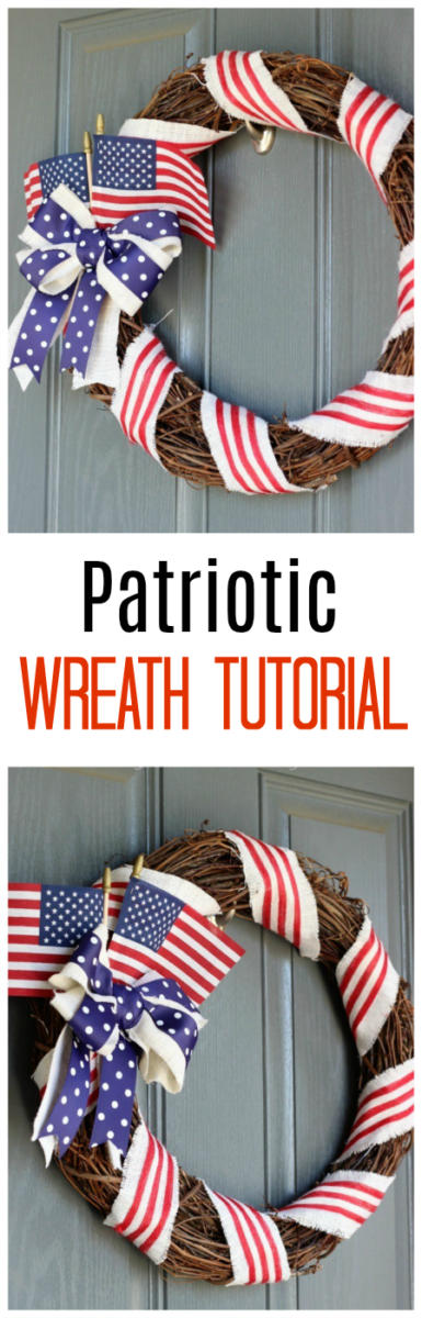 A gorgeous wreath to hang during the summer months! This patriotic wreath tutorial is simple to make, quick, and inexpensive!