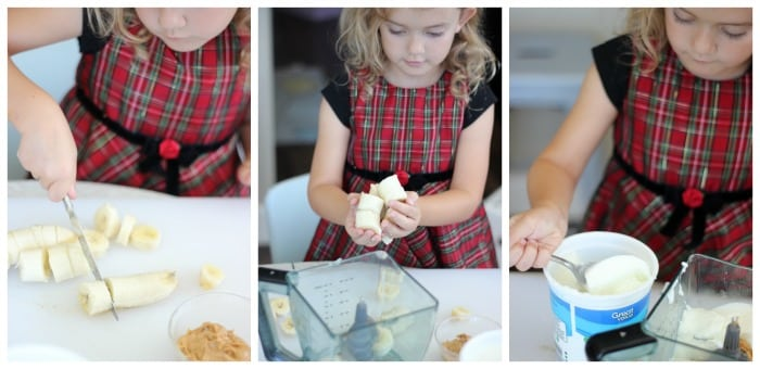 young girl slicing bananas and spoon yogurt into blender