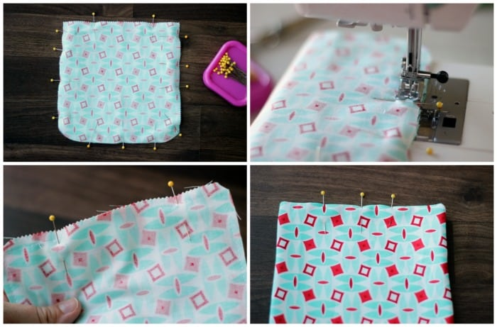 4 step collage for making a sunglasses case