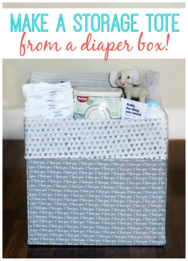 Turn a diaper box into a storage tote for a nursery. The perfect way to store everything to make diaper changing time a breeze! An easy no-sew project.