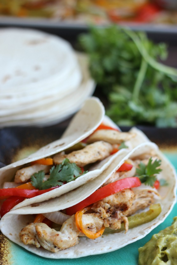 oven fajitas in flour tortillas