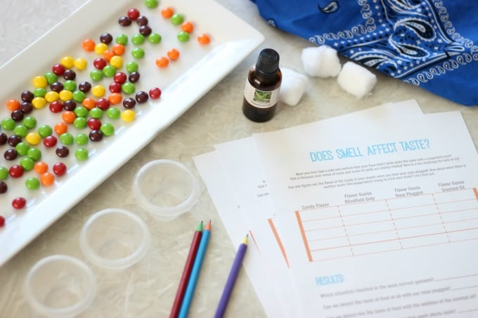 skittles, cups, pencils and printable worksheets