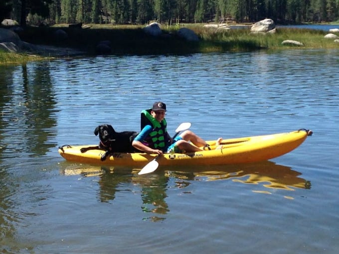 dog in canoe with family