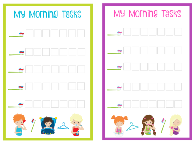 Dry Erase Morning Tasks Chart