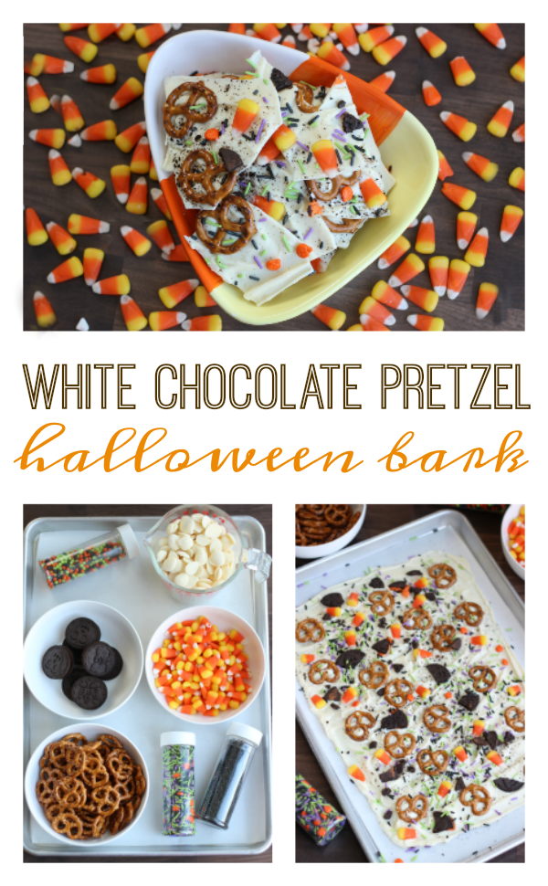 White Chocolate Pretzel Halloween Bark