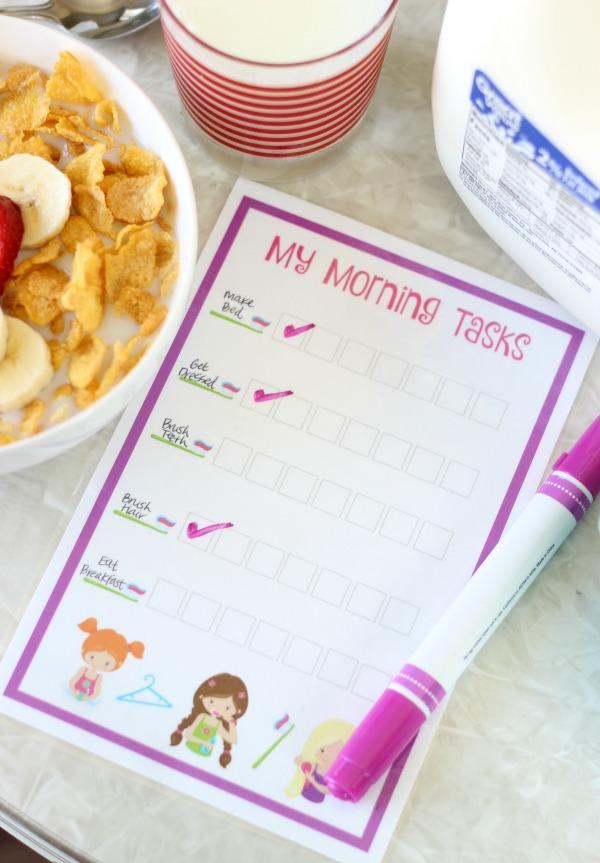 morning tasks chart for kids