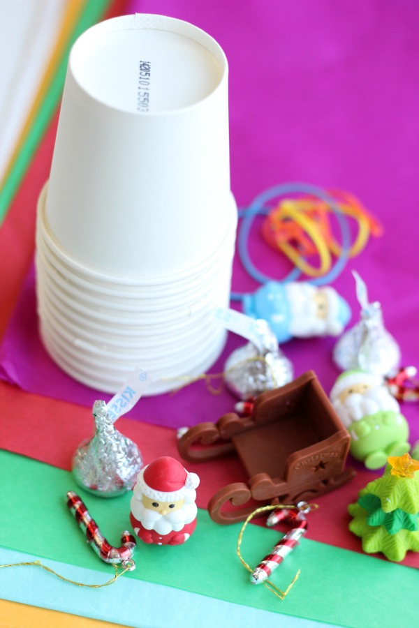 cups and toys for tissue punch advent