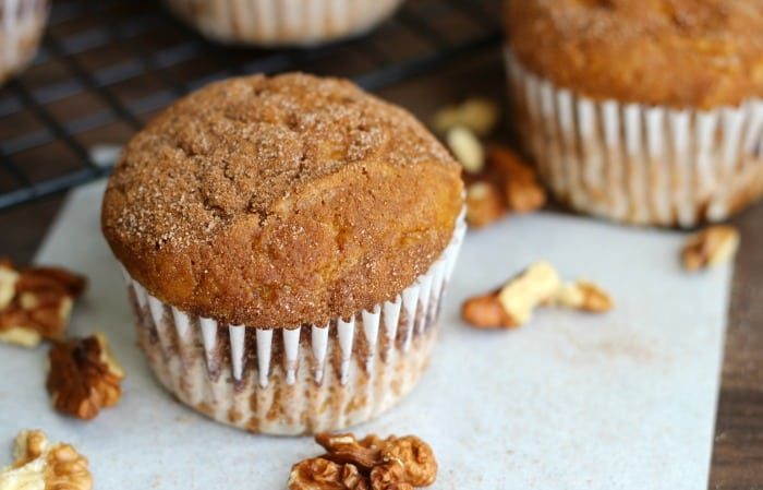 Cinnamon pumpkin muffins filled with the flavors of fall and made with applesauce instead of oil. Perfect for school lunches or a quick breakfast.