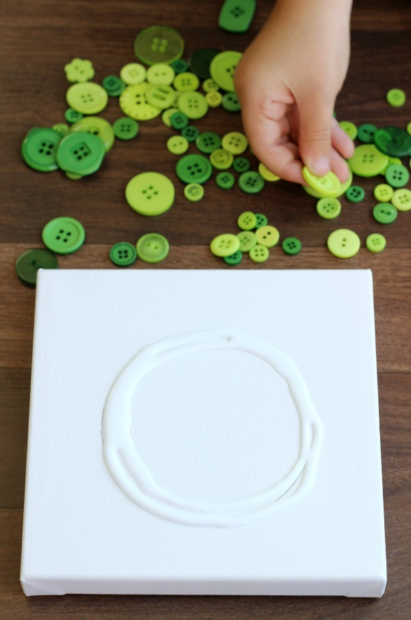 canvas with circle of glue