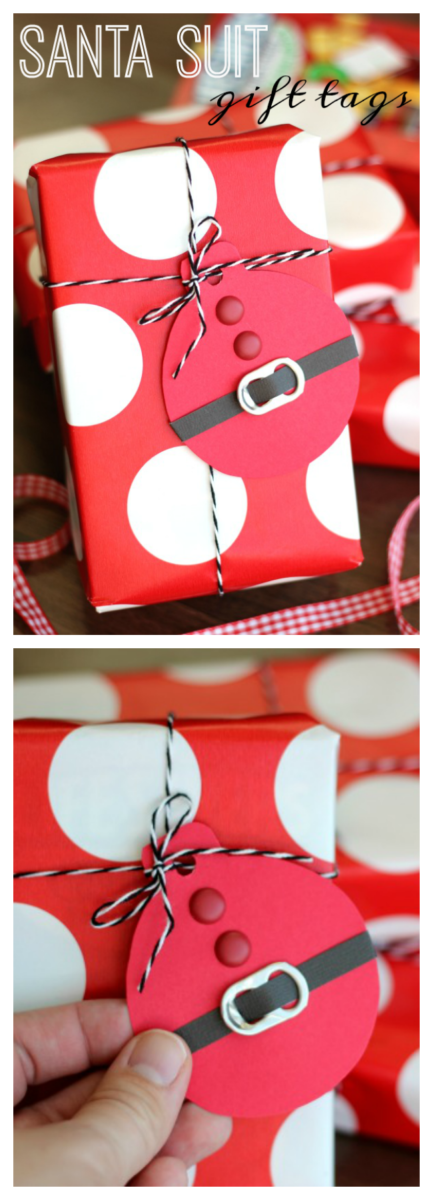 These quick and easy Santa Suit gift tags, made out of cardstock and soda can tabs, are the perfect addition to any gift this holiday season!